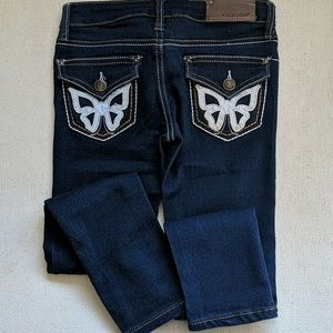 Vigoss Girls Size 7 Blue Jeans Butterfly Pockets